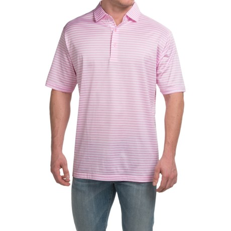 Peter Millar Pat Cotton Lisle Polo Shirt Retro Pink Stripe, Short Sleeve (For Men)