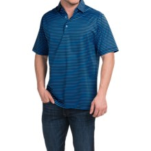 Peter Millar Pat Cotton Lisle Polo Shirt - Short Sleeve (For Men) in Black - Closeouts