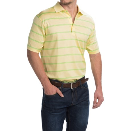 Peter Millar Rayburn Stripe Cotton Lisle Polo Shirt Short Sleeve (For Men)
