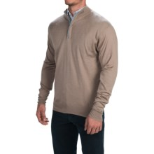 Peter Millar Silk-Cashmere Sweater - Zip Neck (For Men) in Mink - Closeouts