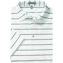 Peter Millar Summer Comfort Signature Stripe Polo Shirt - Short Sleeve (For Men) in White/Erin Green - Closeouts