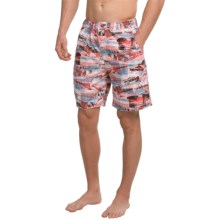 Peter Millar Travel Print Swim Trunks (For Men) in Bermuda Pink - Closeouts