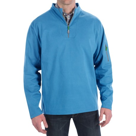 Peter Millar Whistler Wind Suede Pullover - Zip Neck, Long Sleeve (For Men) in Harbor Blue