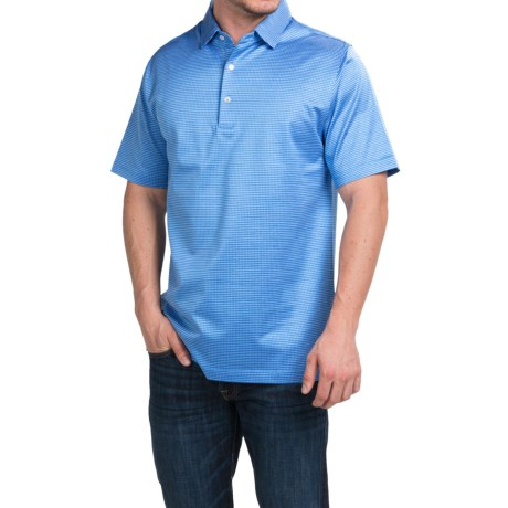Peter Millar Wink Jacquard Cotton Lisle Polo Shirt Liberty Blue, Short Sleeve (For Men)