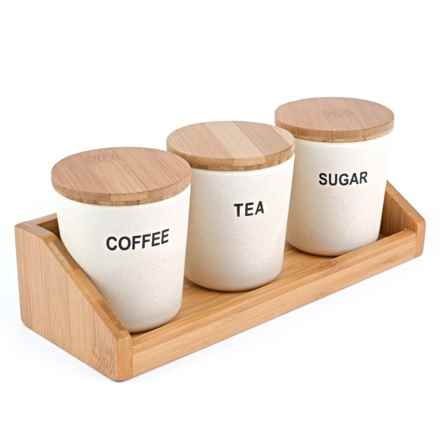 Peterson Housewares Bamboo Round Storage Containers - 4-Piece in White - Closeouts