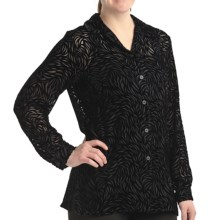 Petite Sophisticate Velvety Burnout Shirt - Long Sleeve (For Petite Women) in Black - Closeouts
