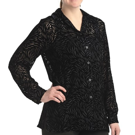 Petite Sophisticate Velvety Burnout Shirt - Long Sleeve (For Petite Women) in Black