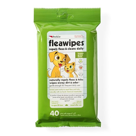 Petkin Flea Wipes - 40-Count in See Photo