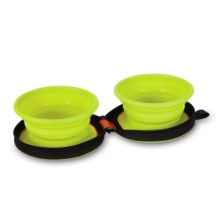Petmate Silicone Travel Bowl Duo - 1.5-Cup in Go Go Green Bowls/Navy Case - Closeouts