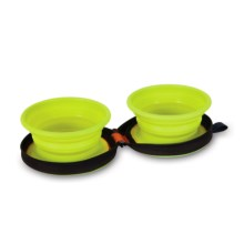 Petmate Silicone Travel Bowl Duo - 3-Cup in Go Go Green Bowls/Navy Case - Closeouts