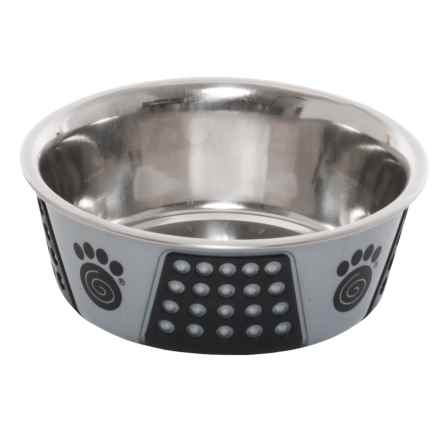 PetRageous Fiji Dog Bowl - 3-3/4 Cups, Stainless Steel in Light Gray/Black - Closeouts