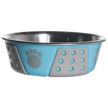 PetRageous Fiji Pet Bowl - Stainless Steel in Blue/Light Gray