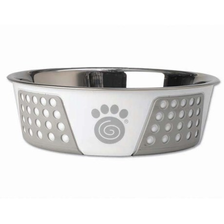 """PetRageous Fiji Stainless Steel Dog Bowl - 8.5"""" in Grey/White"""