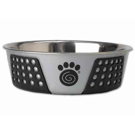 "PetRageous Fiji Stainless Steel Dog Bowl - 8.5"" in Light Gray/Black - Closeouts"