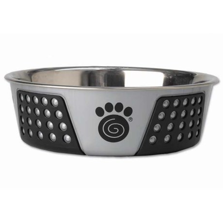 "PetRageous Fiji Stainless Steel Dog Bowl - 8.5"" in Light Gray/Black"