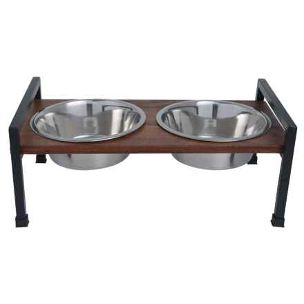 PetRageous Martinique Elevated Dog Feeder - 2 qt. Bowls in Walnut/Black - Closeouts