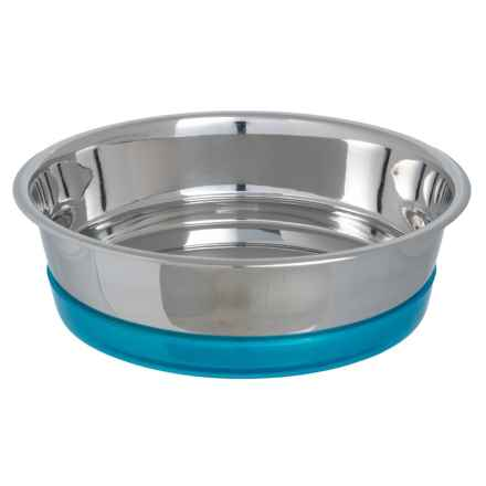 PetRageous Maui Stainless Steel Dog Bowl - 6.5 Cups in Stainless/Aqua - Closeouts