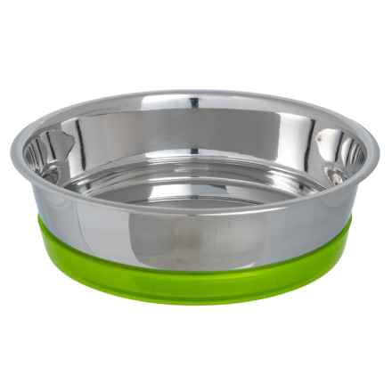 PetRageous Maui Stainless Steel Dog Bowl - 6.5 Cups in Stainless/Lime Green - Closeouts