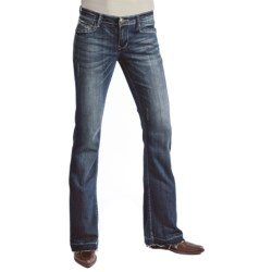 Petrol Avery Denim Jeans - Low Rise, Slim Fit, Wide Bootcut (For Women) in Dark Wash