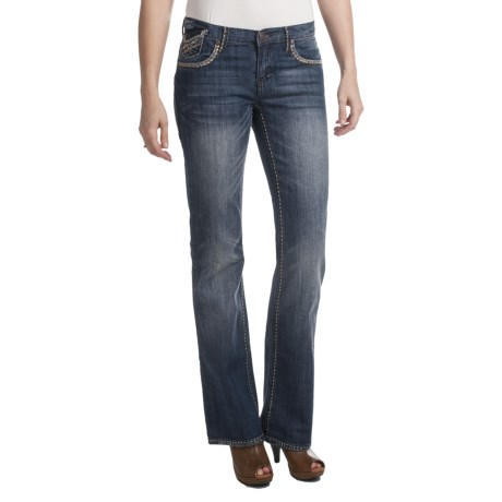 Petrol Casey Denim Jeans - Low Rise, Slim Fit, Bootcut (For Women) in Dark Wash