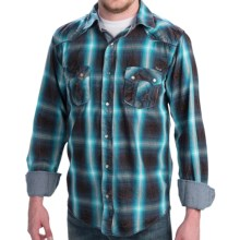 Petrol Eddie Plaid Shirt - Snap Front, Long Sleeve (For Men) in Brown/Turquoise - Closeouts