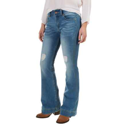 Petrol Slightly Destroyed Classic Flare Jeans - Bootcut (For Women) in Dark Wash - Closeouts