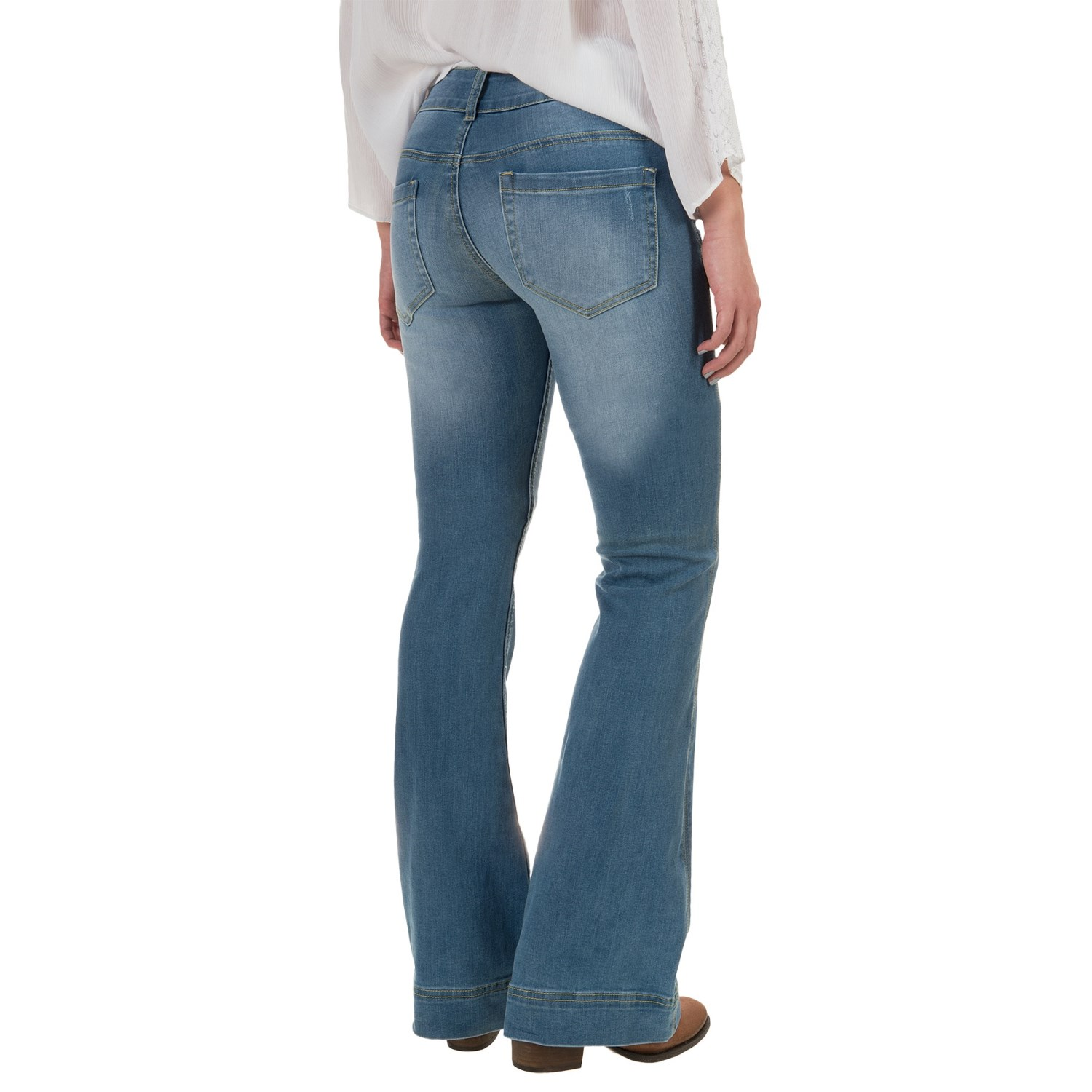 Petrol Slightly Destroyed Classic Flare Jeans (For Women ...