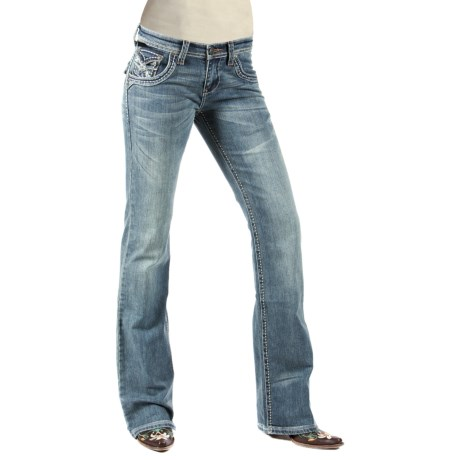 Petrol Whitney Denim Jeans - Low Rise, Slim Fit, Wide Bootcut (For Women) in Light Wash