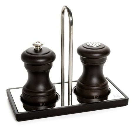 Peugeot Bistro Salt and Pepper Mill Set with Linea Tray - 3-Piece Set in Chocolate