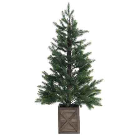 PEWTER & PINE Christmas Tree in Carved Wood Container - 4' in Brown - Closeouts