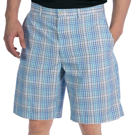 PGA Tour Flat Front Shorts - UPF 50+ (For Men) in Blue Atoll Plaid