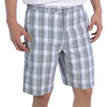 PGA Tour Flat Front Shorts - UPF 50+ (For Men) in Bright White Plaid - Closeouts