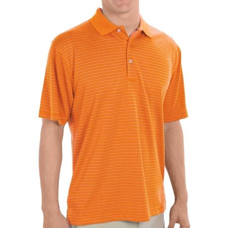 PGA Tour Striped Polo Shirt - UPF 15+, Short Sleeve (For Men) in Vibrant Orange