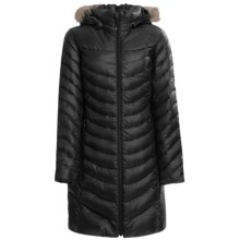 Phenix Fluffy Long Down Coat - 800 Fill Power, Removable Fur Trim (For Women) in Black - Closeouts