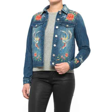 Philosophy Embroidered Denim Jacket (For Women) in Medium Wash - Closeouts