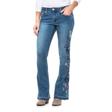 Philosophy Floral Embroidered Flare Jeans (For Women) in Medium Wash - Closeouts