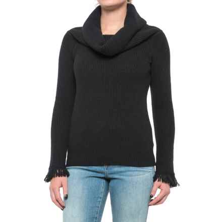 Philosophy Fringe Cuff Ribbed Sweater - Cowl Neck (For Women) in Black - Closeouts