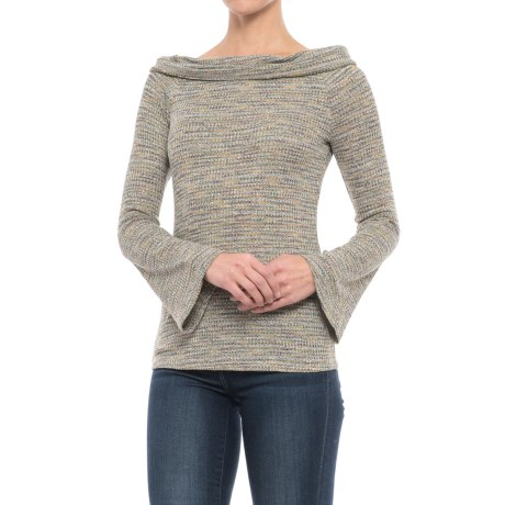 Philosophy Off-the-Shoulder Bell Sleeve Shirt - Long Sleeve (For Women) in Green Space Dye