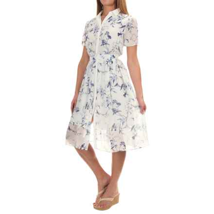 Philosophy Printed Button-Down Dress - Short Sleeve (For Women) in Blue Bird Floral - Overstock