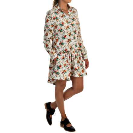 Philosophy Printed High-Low Dress - Long Sleeve (For Women) in Mini Bouquet - Overstock