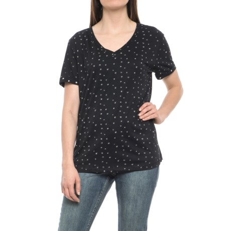 Philosophy Republic Clothing Star Print Shirt - Cotton-Modal, Short Sleeve (For Women) in Black