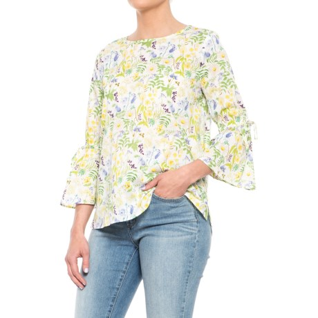 Philosophy Republic Clothing Woven Bell Sleeve Shirt - 3/4 Sleeve (For Women) in Green Combo Print