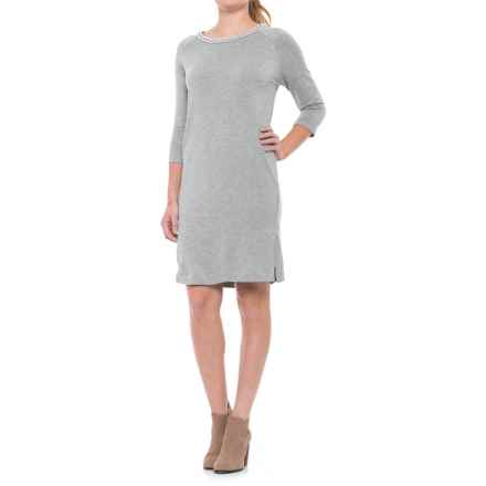 Philosophy Scoop Neck Knit Dress - Elbow Sleeve (For Women) in Heather Grey - Closeouts