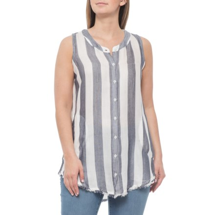 55c4f914 Philosophy Striped Button-Down Tunic Shirt - Sleeveless (For Women) in Navy/