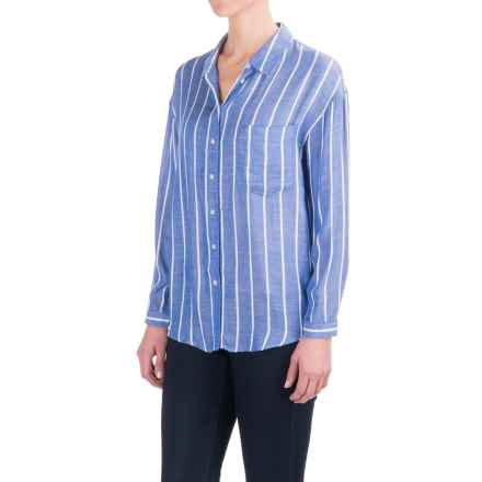 Philosophy Textured Stripe Shirt - Long Sleeve (For Women) in Blue/White - Closeouts