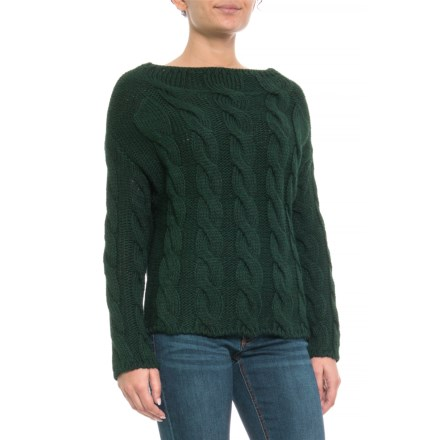 8d03ff7fe6 PHO Made in Italy Funnel Neck Cable Sweater (For Women) in Green - Closeouts