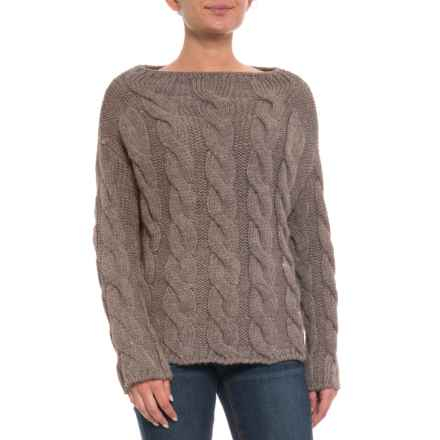 PHO Made in Italy Funnel Neck Cable Sweater (For Women) in Taupe - Closeouts