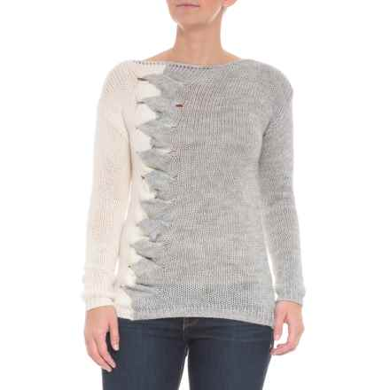 PHO Made in Italy Two-Color Front Cable Sweater - Boat Neck (For Women) in Grey/Ivory - Closeouts