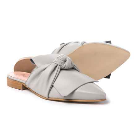 Piampiani Bow Mule Shoes - Leather (For Women) in Light Grey Pearl - Closeouts