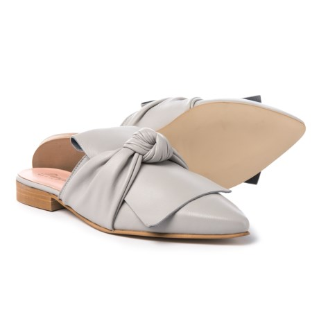 Piampiani Bow Mule Shoes - Leather (For Women) in Light Grey Pearl
